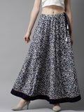 Navy Blue & White Floral Print Maxi Flared Skirt