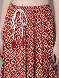 Women Red & Beige Printed Maxi Flared Skirt