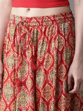 Red & Beige Printed Maxi Flared Skirt