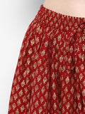 Women Maroon Printed Flared Maxi Skirt