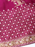 Women Magenta & Golden Khadi Print Flared Maxi Skirt