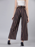 Women Navy Blue & Red Printed Straight Palazzos