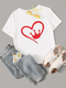 Heart And Crown Print Crew Neck T-shirt
