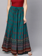Women Teal Blue & Red Printed Flared Maxi Skirt