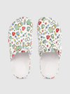 Women White & Green Conversational Print Clogs with Buckle Detail