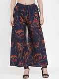 Women Navy Blue & Red Printed Wide Leg Palazzos