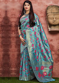 Light Blue Woven Art Banarasi Silk Saree