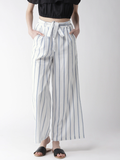 Women White & Blue Striped Wide Leg Palazzos