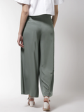 Women Green Solid Wide Leg Palazzos