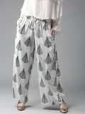 Women Off-White & Blue Printed Wide Leg Palazzos