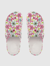 Women White & Pink Floral Print Clogs