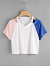 Cut Out Neck Contrast Sleeve Tee