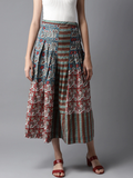 Women Blue & Red Printed Flared Skirt