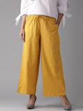 Women Yellow Wide Leg Cropped Palazzos