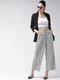 Women White & Black Striped Straight Palazzos