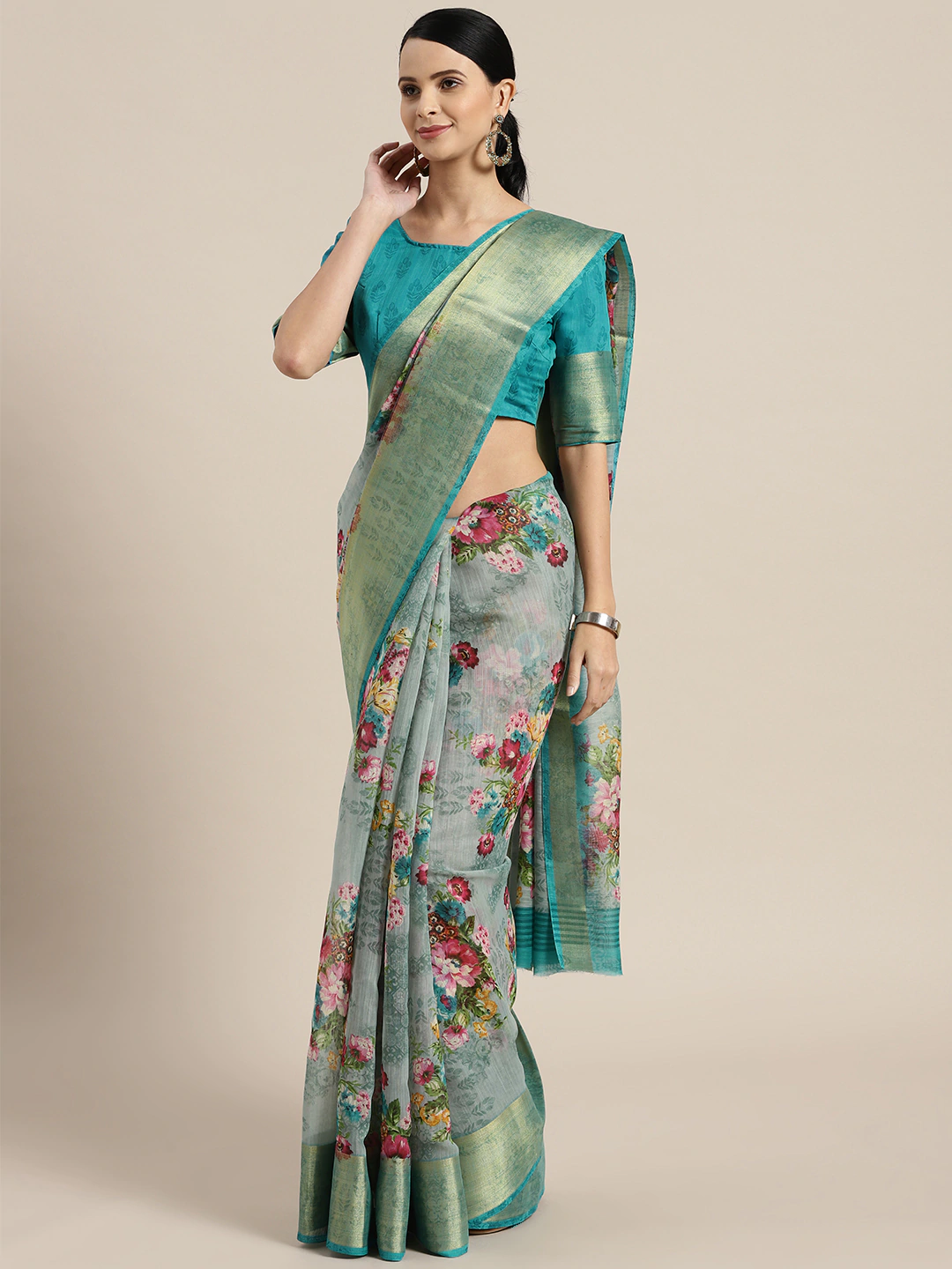 Sea Green & Pink Linen Blend Printed Saree