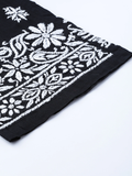 Women Black & White Chikankari Hand Embroidered Straight Palazzos