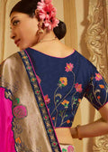 Pink Woven Border Saree With Blouse