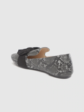 Charcoal Grey Snakeskin Textured Loafers