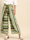 Women Multicoloured Striped Wide Leg Layered Palazzos With Tie-Up Detail