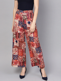 Women Red & Beige Printed Straight Palazzos