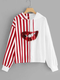 Red Drawstring Striped Casual Oversized Sweatshirt