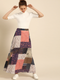 Women Navy Blue & Pink Printed A-Line Maxi Skirt