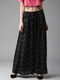 Women Black & White Printed Flared Palazzos