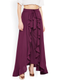 Women Burgundy Solid Flared Palazzos