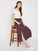 Women Maroon & Navy Blue Striped A-Line Maxi Skirt