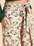 Women Peach-Coloured & Green Printed Wide Leg Palazzos
