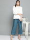 Women Blue Solid Cropped Straight Palazzos