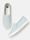 Women Blue Printed Slip-On Sneakers