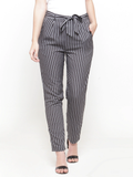 Women Black & White Striped Flared Palazzos