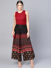 Women Black & Red Printed Flared Palazzos