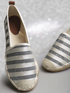 Women Off-White & Gunmetal-Toned Self-Striped Espadrilles