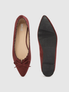 Women Burgundy Solid Bow Detail Ballerinas