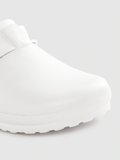 Women White Solid Clogs with Buckle Detail