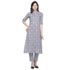 Grey & blue printed A-line kurti With ethnic pant