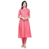 Pink pleated A-line kurti with ethnic pant