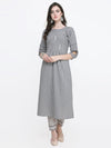 Grey lining A-line kurti with ethnic pant