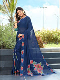 Elegent Blue Color Designer silk Saree