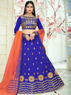 Attractive Blue Color Tafeta Silk Embridered Work Lehenga Choli.