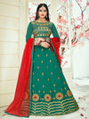 Attractive Teal Color Tafeta Silk Embridered Work Lehenga Choli.
