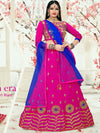 Attractive Pink Color Tafeta Silk Embridered Work Lehenga Choli.