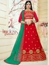 Attractive Red Color Tafeta Silk Embridered Work Lehenga Choli.
