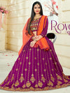 Attractive Purple Color Tafeta Silk Embridered Work Lehenga Choli.