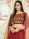 Attractive Maroon Color Tafeta Silk Embridered Work Lehenga Choli.