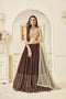 Designer Brown Color Georgette Thread Work Lehenga.