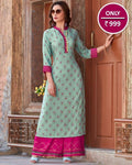 Exclusive Crystal Blue Rayon Kurti With Rayon Palazzo